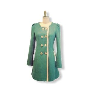 WOOL double breasted Teal & Cream coat size XS
